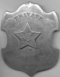 Badge similar to that which was probably worn by Special Police Officer Chumley in 1880